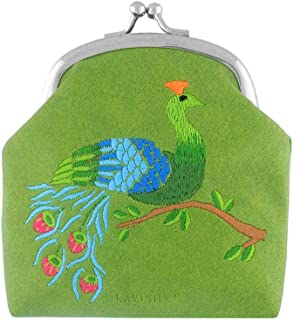 Embroidered Peacock Vegan/Faux Leather Kiss Lock Frame Coin Purse