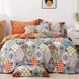 FADFAY Bohemian Bedding Twin XL 100% Cotton 600 TC Multicolor Geometric Duvet Cover Colorful Dorm College Orange and Turquoise Exotic Style Soft Boho Reversible Zipper Bedding