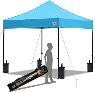 ABCCANOPY Pop up Canopy Tent Commercial Instant Shelter with Wheeled Carry Bag, Bonus 4 Canopy Sand Bags, 10x10 FT Sky Blue