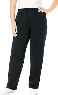 Roamans Women's Plus Size Petite Soft Knit Straight-Leg Pant