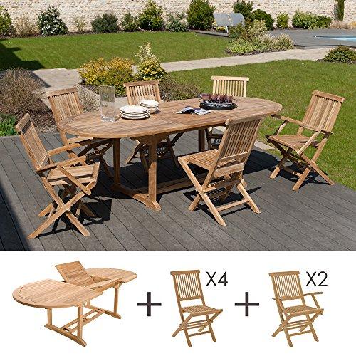 MACABANE 500924 Salon de Jardin Couleur Brut en Teck Dimension 180/240cm X 100cm X 75cm