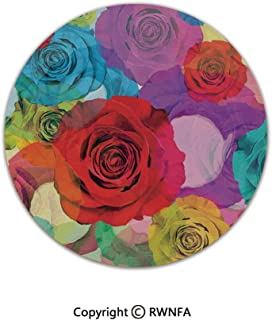 Non-Slip Feet Luxury Round Area Rugs,Various Colorful Roses Background in Modern Pop Art Work Romantic Sensual Flowers 5' Diameter Multi,for Living & Bedroom Floor Mat Home Decor