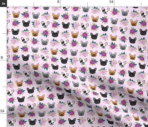 Spoonflower Fabric - French Bulldog Purple Lavender Pastel Frenchie Dogs Florals Bulldogs Printed on Fleece Fabric by The Yard - Sewing Blankets Loungewear and No-Sew Projects