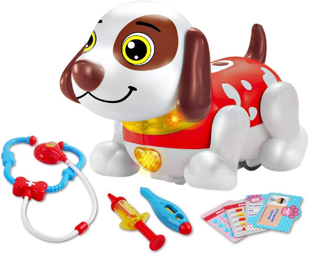 deAO Mascota Interactiva para Practicar Inglés Actividad Infantil de Aprendizaje con Perrito Robot Inteligente Juguete Electrónico Multifuncional (Veterinario)