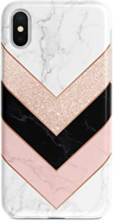 uCOLOR Case Compatible with iPhone Xs/X,iPhone 10 Protective Case Rose Gold Pink Black White Marble Slim Soft TPU Silicone Shockproof Cover Compatible iPhone XS/X/10(5.8 inch)