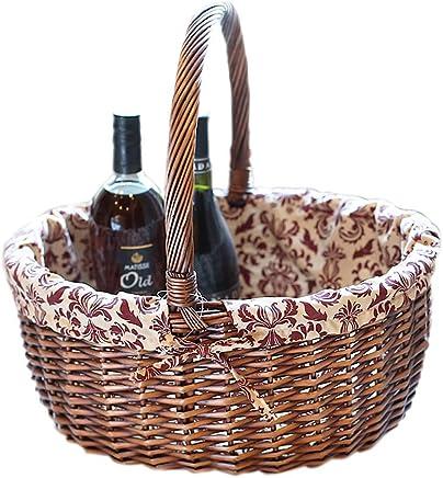 Jian Jian Jian E - (Picknickkorb)-europäische Pastorale Wicker Bambuskorb Obst und Gemüse Ablagekorb Picknick im Freien tragbarer Picknickkorb (3 Größe) (Farbe   34x28x18cm) B07Q829KMQ   München  9b308d