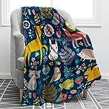 Jekeno Cartoon Forest Animals Blanket Soft Warm Deer Rabbit Owl Fox Print Throw Blanket for Kids Adults Gift Sofa Chair Bed Office 50'x60'