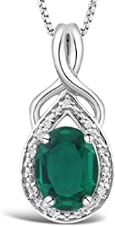 Sterling Silver Lab Created Emerald Necklace with Diamond Accented Halo - 3/4 Inch Pendant 8x6 MM Created Emerald and 18 Inch Box Chain
