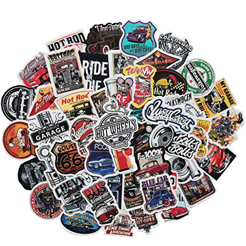 50 PCS Laptop Sticker Hot Rod Classic Car Theme Stickers Waterproof Vinyl Scrapbook Stickers Car Motorcycle Bicycle Luggage Decal Hot Rod Classic Car