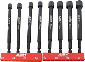 ABN Impact Nut Driver Tool Set – 8pc Metric 6 IN Long Shank Nut Driver Bits..