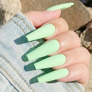 Handcess Bara Unghie finte Ballerina extra lunga opaca Stampa sulle unghie Colore puro verde Copertura completa Unghie fin...