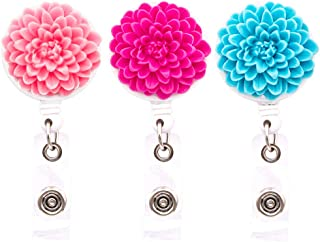 Ascrafter Multi-Layer Flower Retractable Badge Holder, Daisy Badge Reel Clip On Card Holders, 3 Pack(Pink+Rose red+Blue)