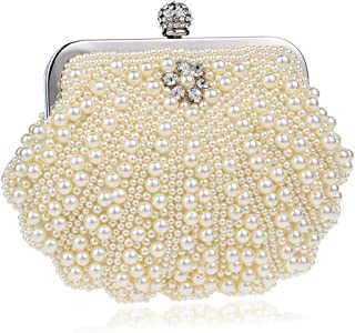 Beaded Embroidery Dinner Bag, Ladies Fashion Pearl Banquet Bag, Evening Dress Clutch Bag, for Formal Occasions Such As Events, Weddings (19 * 4 * 14Cm),Beige