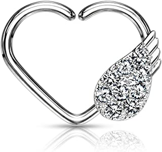 Dynamique CZ Paved Angel Wing Set Heart Shape Ear Cartilage, Daith Hoop Ring (Sold Per Piece)