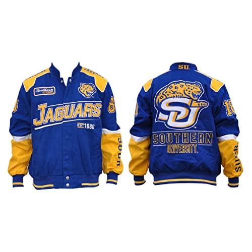 90e42e18e60 Big Boy Gear Southern University Jaguars - Blue Racing Jacket with Yellow  Text