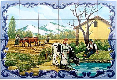 Azul'Decor35 Wandpaneel aus 24 bemalten Fliesen aus glasiertem Steingut für Küche, Bad, Hauseingang - 90x60cm