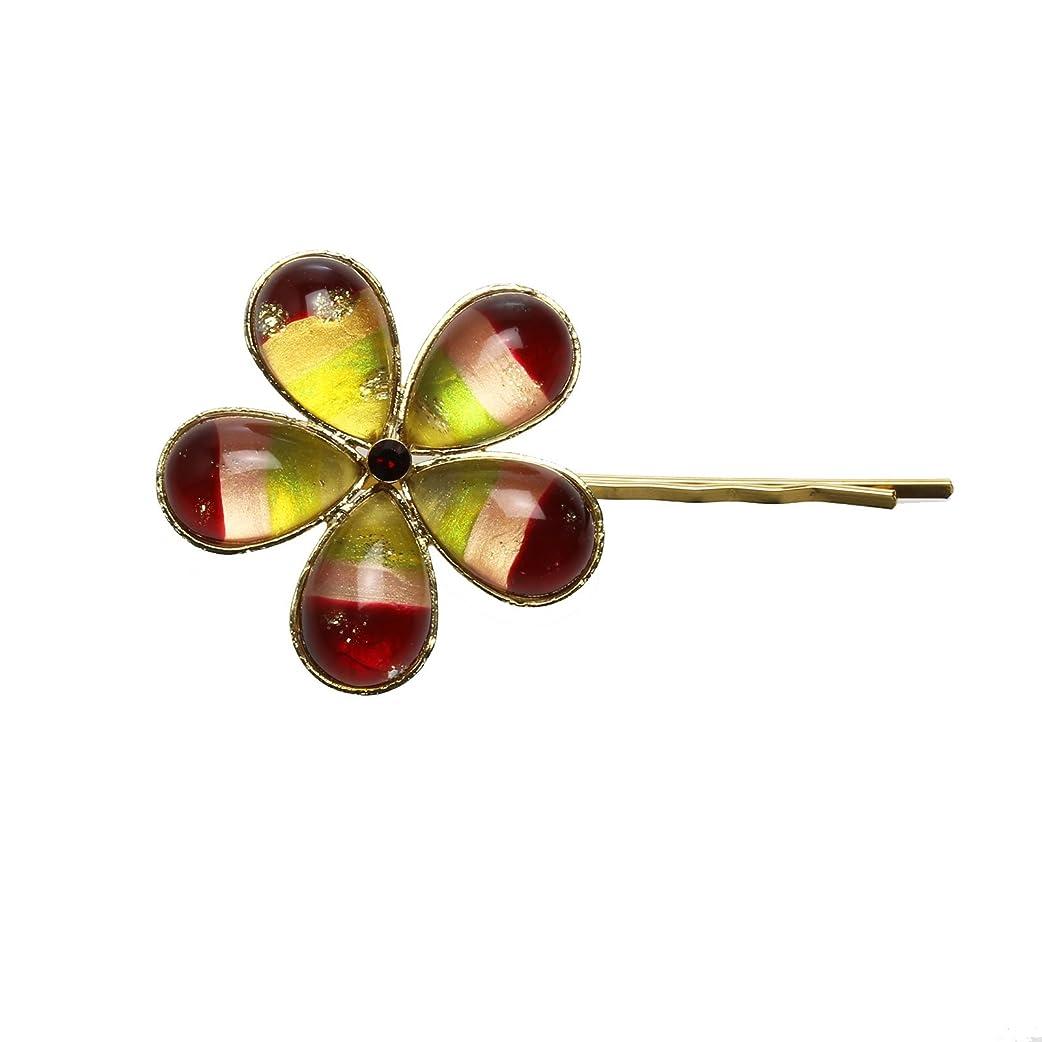 タマルサン(TAMARUSAN)ヘアピン ゴールド 虹 オレンジ 花 髪飾り ニッケルフリー