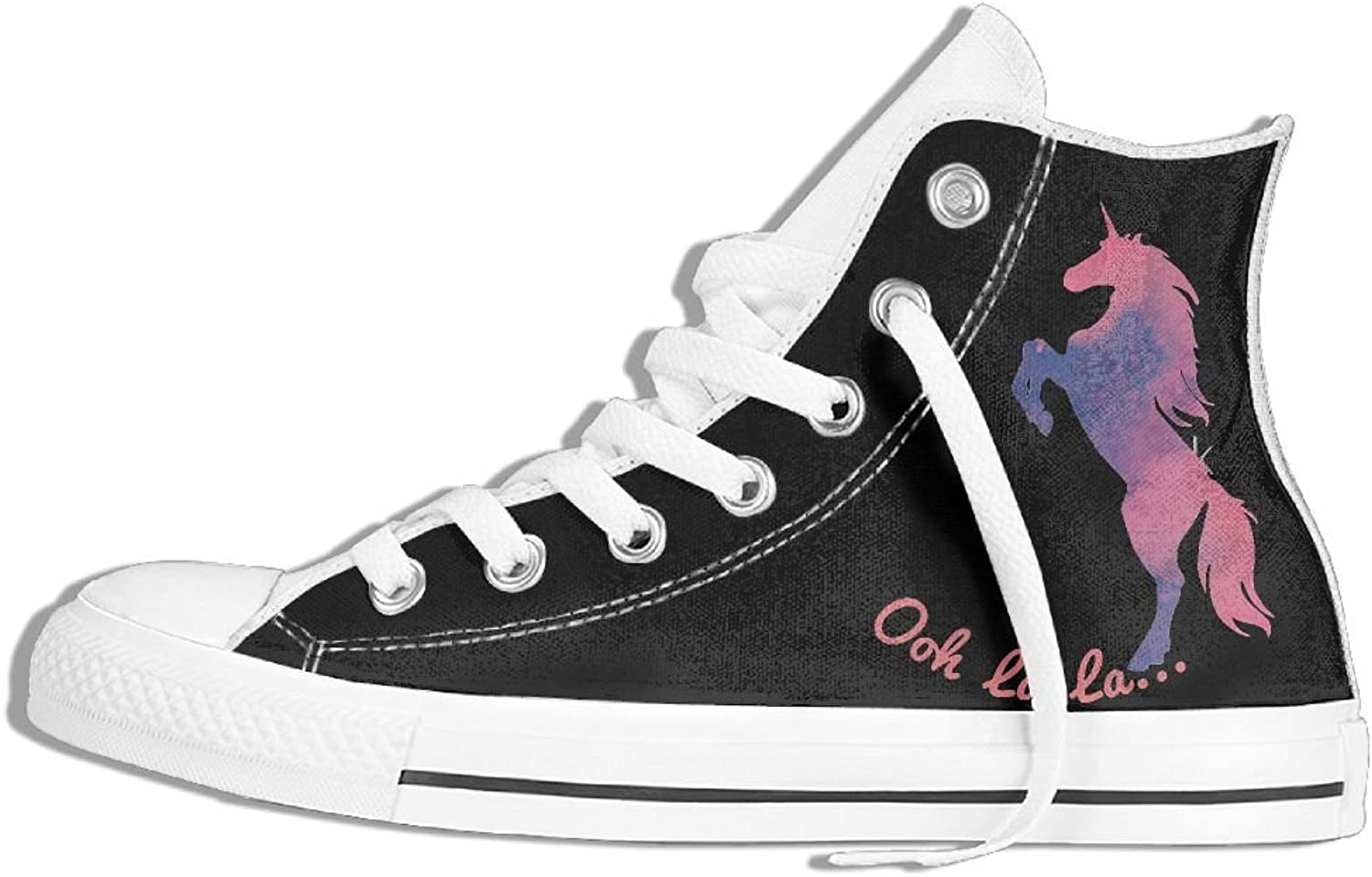 Unisex High Top Canvas Sneakers Unicorn Flat Anti-slip Walking Trainers shoes