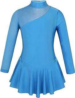 inhzoy Kids Girls Figure Ice Skating Dress Long Sleeve Splice Cutout Back Roller Skating Ballet Dance Dress Tutu Skirted