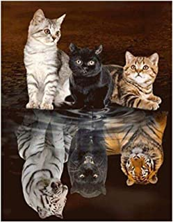 5D Full Diamond Painting, The Kitten Wants to Become a Big Tiger DIY Diamond Painting with a Full Set of Crafts Like Embroidered Cross Stitch Home Wall Decoration 17.7x21.6 inches