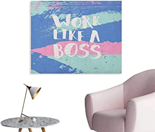 Anzhutwelve Quote Wall Picture Decoration Work Like a Boss Words on Splashy Stained Pastel Color Background Art Poster Violet Blue Seafoam and Pink W48 xL32