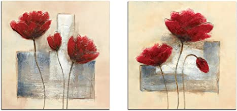 Wieco Art Charming Spring Large Modern 2 Panels Gallery Wrapped Giclee Canvas Prints..