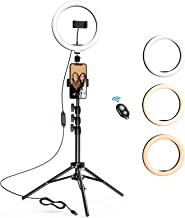10.2 inch Selfie Ring Light with Tripod Stand & 2 Phone Holders, LETSCOM Dimmable LED Beauty Camera Ringlight for Makeup/P...