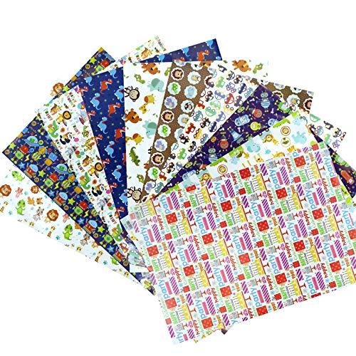 Geschenkpapier, Geburtstag Groß Geschenkverpackung Papier für Kinder Jungen und Mädchen, DIY Geschenkpapier Weihnachts Rolle für Babyparty Party Geburtstag Valentinstag (10 Blatt, 75 x 52 cm)