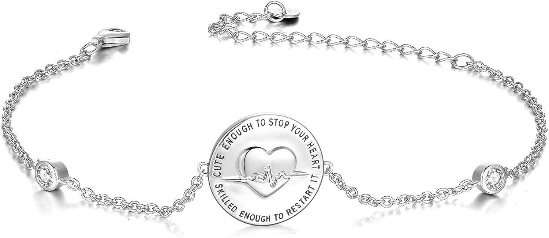 YFN Sterling Silver Nurse Bracelet Jewelry Gift Idea-Cute Enough