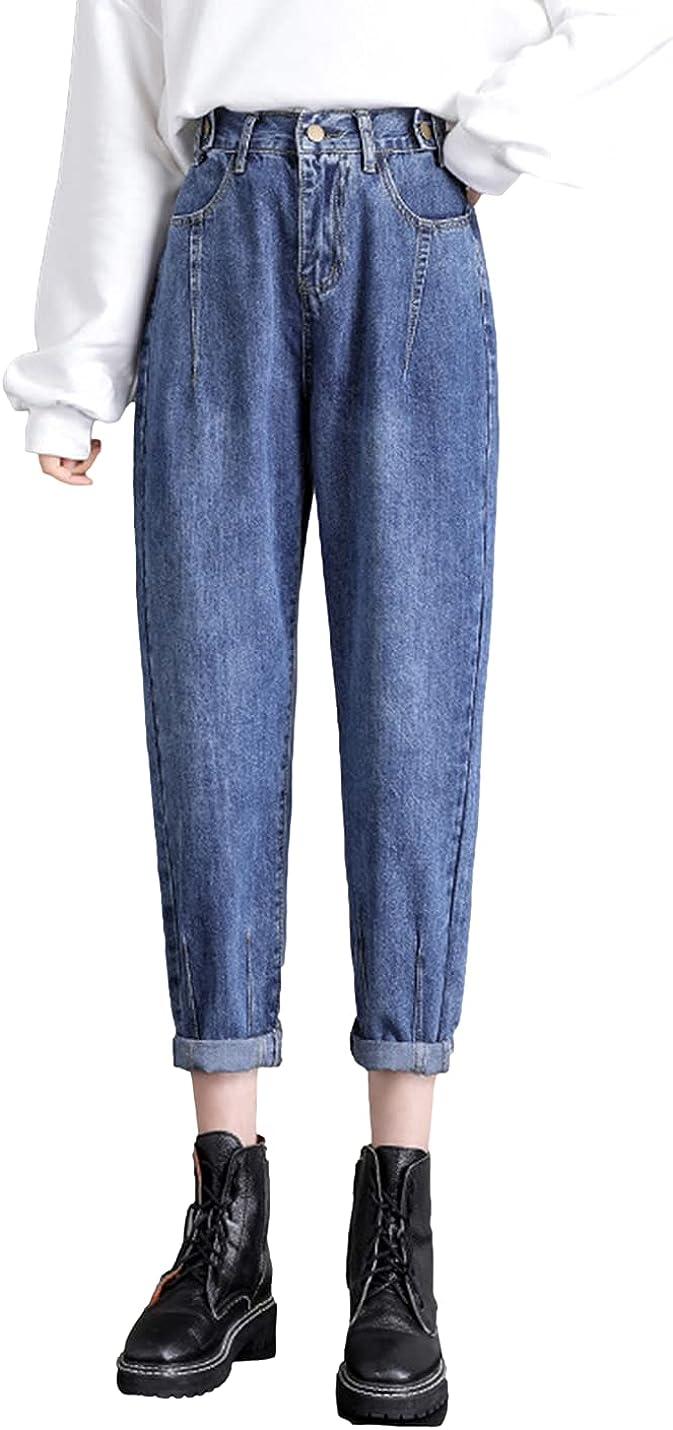 Omoone Women's Casual トレンド 世界の人気ブランド Boyfriend Denim H Cropped Jeans Distressed