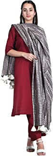 Rustorange Women's Viscose Straight Maroon Salwar Kurta Set With Grey Dupatta