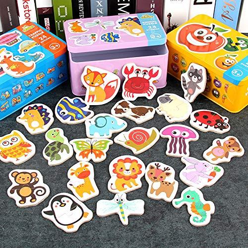 Dorime Montessori Spiel frühe pädagogische Montessori Spielzeug Puzzle-Karte Cartoon Verkehr Tier Obst Paar Passende Spielspielwaren für Kinder