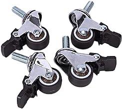 Zwenkwielen wielen trolley wielen Zwenkwielen voor zwaar gebruik met remvergrendeling 4 stuks |Zwarte PU-werkbankwielen v...