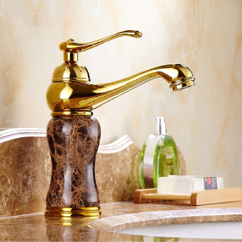 Luxus Marmor Goldenen Wasserhahn Kaffee Farbe Marmor Stein Waschbecken Wasserhahn mit heien und kalten Wasserhhnen