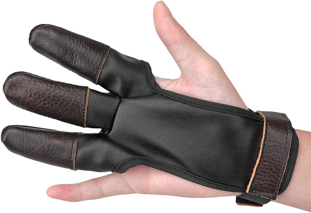 KRATARC Archery Glove Finger Protector Three Dedication Department store Leather Fingers Tab