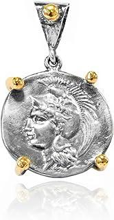 Joyasantiguas - Colgante de Plata Moneda Dorado/oxido Atenea con casco