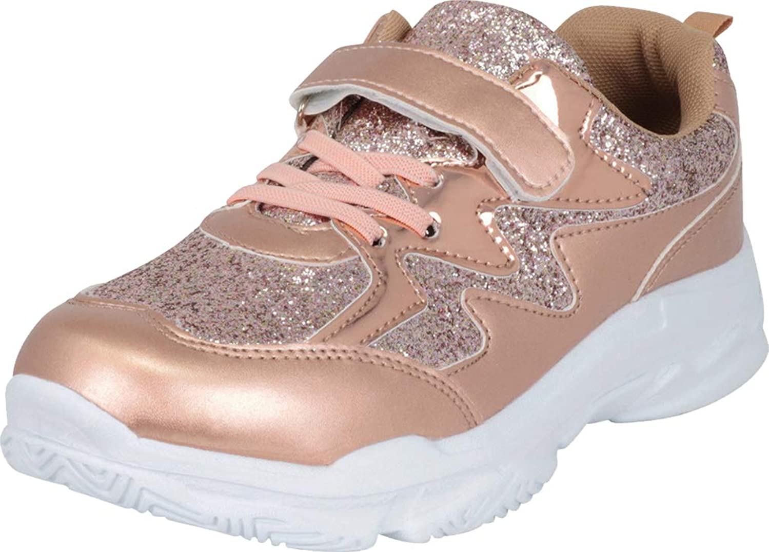 Cambridge Select Girls' Lace-Up Strap Glitter Fashion Sneaker (Toddler/Little Kid/Big Kid)