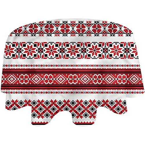 Table Cloth Round Ukrainian Patio Table Cloth European Culture for Christmas|Parties, Waterproof Round,60 inch