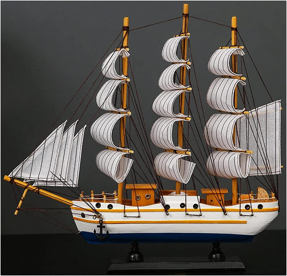 SOFACTY 13Inch Wooden Sailing Boat Me Sailboat Outstanding Model Decor Large-scale sale
