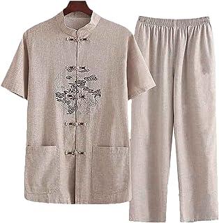 FMOGQ Bawełniany lniany garnitur męski lato Hanfu chińskie tradycyjne ubrania koszulka kung fu odzież taichi krótki rękaw ...
