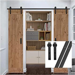 gifsin 6FT/183cm Herraje para Puerta Corredera Kit de Accesorios para Puertas Correderas,Negro J-Forma