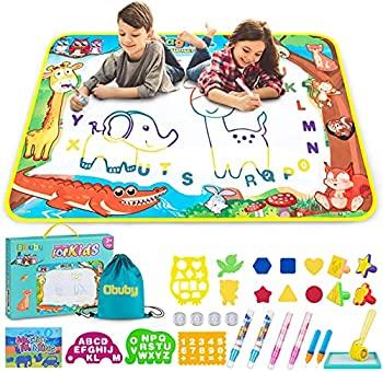 Obuby Aqua Doodle Magic Mat Kids Doodle Mats Water Drawing Writing Board Toy for Kid Toddler Animal Educational Painting Pad Toys for Age 3 4 5 6 7 8 9 10 11 12 Girls Boys Toddlers Gift 40 x 28 Inches