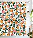 wanxinfu Duschvorhang mit Haken, lustiges Obstmotiv Sommer Pfirsich wasserdichte Dekoration Polyester Tuch Badvorhänge Sets für Badezimmer, 91,4 x 198,1 cm