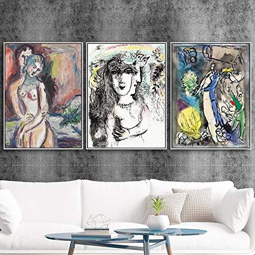 Wandkunst Modular Gedruckt Hd Moderne Bilder Nordischer Stil Marc Chagall Liebhaber Poster 3 Panels Leinwand Malerei Für Wohnzimmer Home Decor-20 X28 X3Panels
