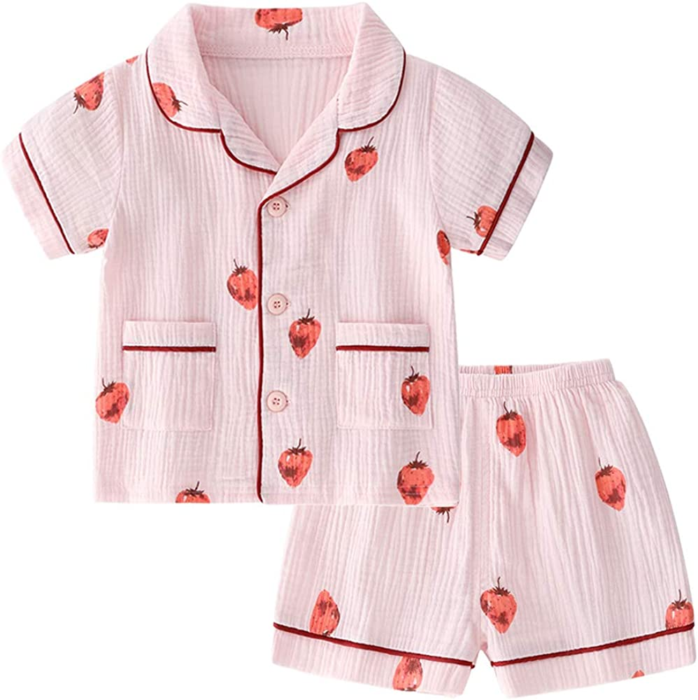 Toddler Button Up Pajamas Summer Pjs for Girls Boys 18 Months - 7 Years