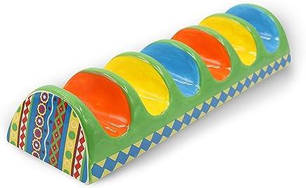 Preisvergleich für NeoCasa Taco Halter- Keramik Lebensmittelqualität Material für Taco Ständer/ Gestell/ Truck / Tablett Handbemalte Keramik, Taco Halter halten 6 Hard oder Soft Shell Tacos