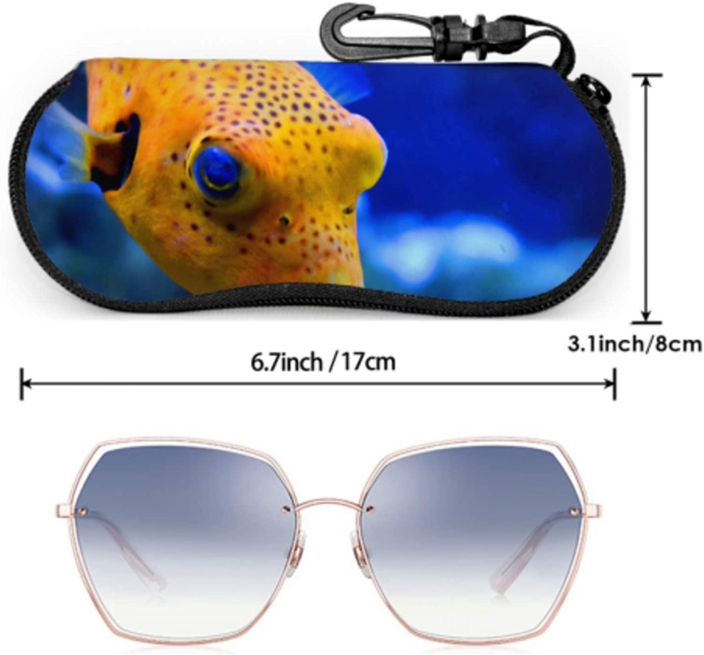 Spiny Fish And Dolphins Mens Eyeglass Case Toddler Sunglass Case Light Portable Neoprene Zipper Soft Case Women Sunglass Case