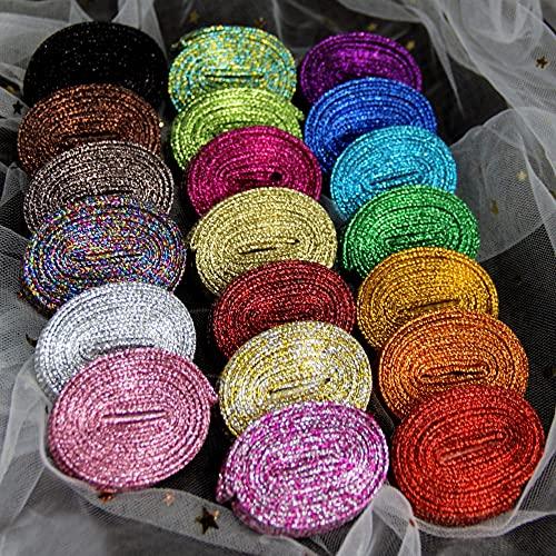 SAIBAO Lacets Blancs pailletés de Baskets Métallique Lacets d'or Brillant Argent Lacets Plats de Chaussures de Course de Sport laçage Homme Femme-Jaune