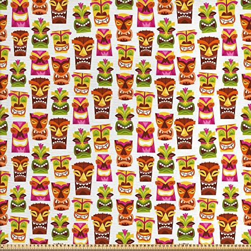 ABAKUHAUS Bar Tiki Tela por Metro, Patrón Colorido Inspiración Retro Años Sesenta Fiesta Hawaiana Tiki Estatuas, Decorativa para Tapicería y Textiles del Hogar, 1M (148x100cm), Multicolor