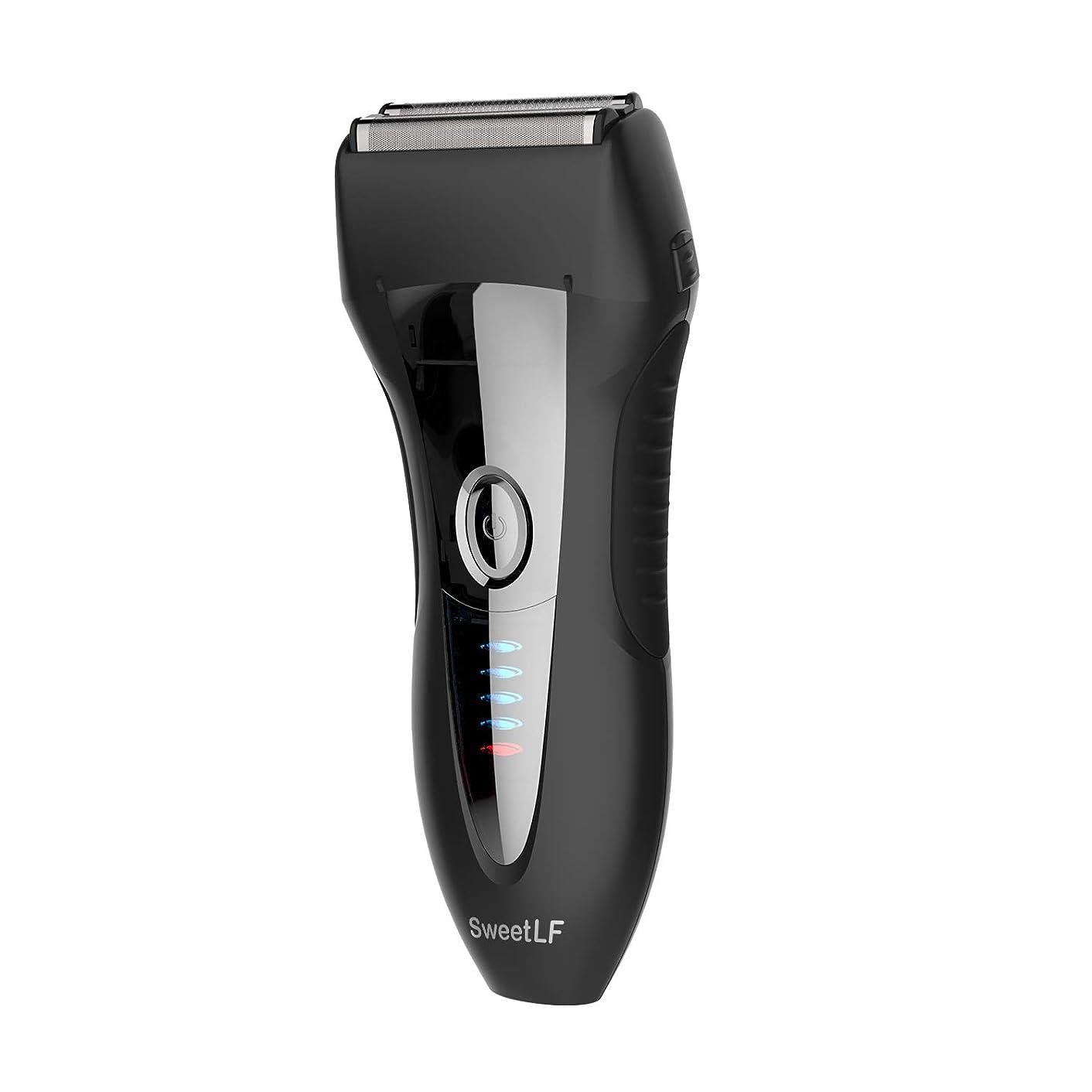 練る抑止する軍隊SweetLF シェーバー メンズ 電気シェーバー ひげそり 電気カミソリ 往復式 3枚刃 USB充電式 お風呂剃り可 LED電源残量表示 トリマー付き